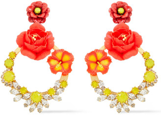 Elizabeth Cole 24-karat Gold-plated, Swarovski Crystal, Enamel And Clay Earrings