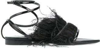Saint Laurent feather trim ankle strap sandals
