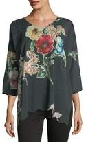 Johnny Was Nina Floral-Print Georgette Top, Plus Size