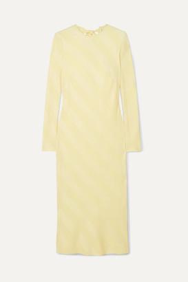 Rebecca Vallance Dolores Bow-detailed Striped Satin-jacquard Midi Dress - Yellow