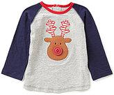 Mud Pie Baby Boys 12-24 Months Christmas Reindeer Raglan Tee