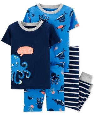 Carter's Baby Boys 4-Pc. Cotton Octopus Pajamas Set