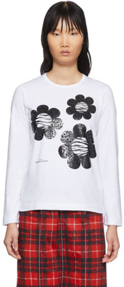 Comme des Garcons White Flower Long Sleeve T-Shirt