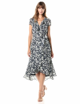 Gabby Skye Women's Short Sleeve V-Neck Printed Ruffle Dress