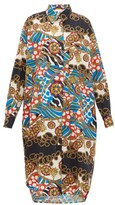 Rhode Resort Daisy Scarf-print Cotton-poplin Shirtdress - Womens - Cream Multi