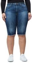 Good American Women's High Waist Denim Bermuda Shorts