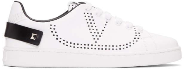Valentino White and Black Garavani VLogo Backnet Sneakers