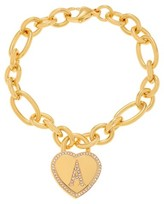 """Journee Collection Round-cut CZ Heart Charm Initial Pave Set Bracelet in Stainless Steel - Gold, (7"""")"""