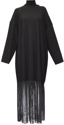 Balenciaga Fringed-hem Roll-neck Jersey Maxi Dress - Black