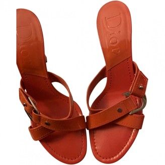 Christian Dior Orange Patent leather Sandals