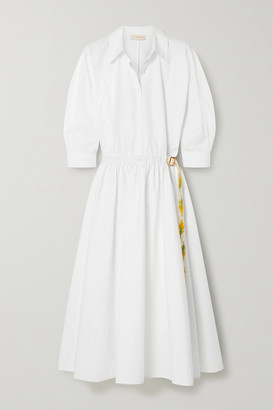 Tory Burch - Belted Grosgrain-trimmed Cotton-poplin Shirt Dress - White