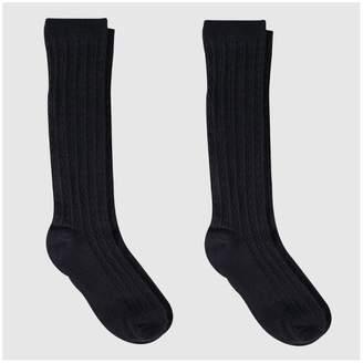 Cat & Jack Girls' Knee-High Socks 2pk Black