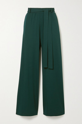 Leset Dylan Belted Stretch-jersey Wide-leg Pants - Forest green