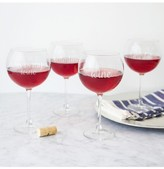Cathy's Concepts Set Of 4 Etched Valentine Red Wine Glasses