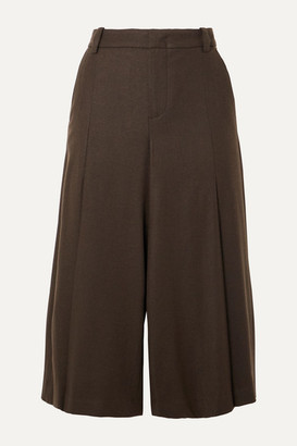 Vince Pleated Twill Culottes - Army green