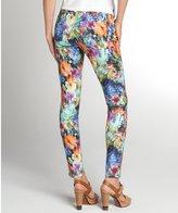 David Kahn rainbow floral print stretch denim 'Nikki' ankle skinny jeans
