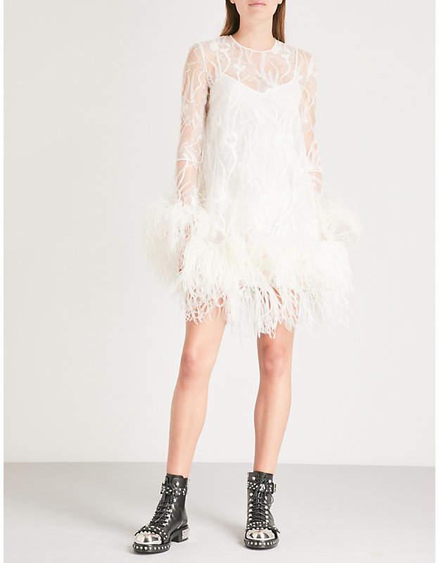 Alexander McQueen Ostrich feather-detail lace mini dress