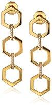 """Rachel Zoe Gavriel"""" Gold-Plated Hexagon Linear Drop Earrings"""