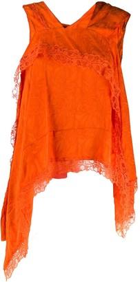 Koché Asymmetric Lace-Embellished Top