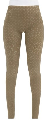 Marine Serre Psychedelic Moon-print Stretch-jersey Leggings - Grey