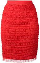 Givenchy ruffle embellished pencil skirt - women - Polyamide/Polyester/Spandex/Elastane - 38