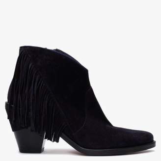Kanna Tinamou Navy Suede Fringed Western Boots