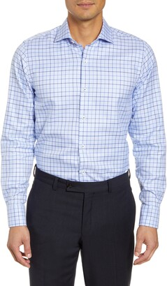 Bugatchi Trim Fit Stretch Windowpane Dress Shirt
