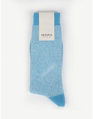 Sunspel Long tonal cotton-blend socks