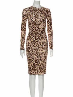 Givenchy Animal Print Knee-Length Dress Brown