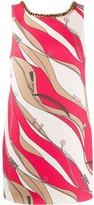 Elisabetta Franchi chain trimmed scarf print shift dress