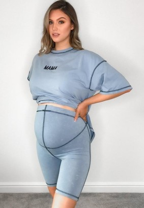 Missguided Co Ord Acid Wash Maternity Cycling Shorts