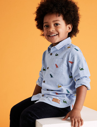 Marks and Spencer Pure Cotton Dinosaur Embroidered Shirt (2-7 Yrs)