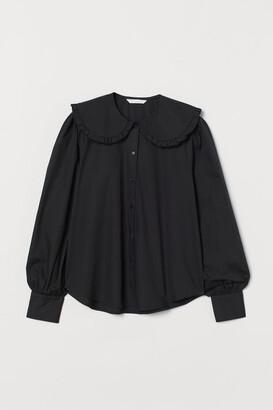 H&M Large-collared Blouse - Black