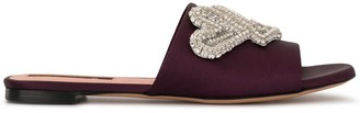 Rochas Crystal-embellished satin slippers