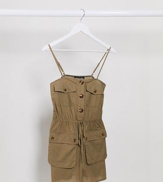 Parisian Tall utility cami strap playsuit in khaki