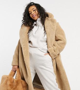 New Look Plus New Look Curve longline teddy borg coat in stone