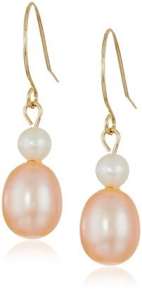 Bella Pearl Dangling 14k Shepherd Hook Multicolored Freshwater Pearl Drop Earrings
