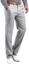 Idopy Men`s Classic Linen Blend Flat Front Straight Fit Dress Pants
