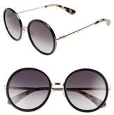 Kate Spade Women's Lamonica 54Mm Gradient Lens Round Sunglasses - Black/ Gold