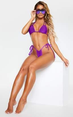 PrettyLittleThing Turquoise Halterneck Mini Ruched Triangle Bikini Top