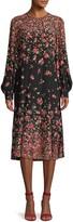Michael Kors Ombre Floral Silk Drop-Waist Dress