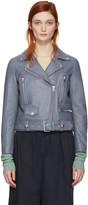Acne Studios Blue Leather Mock Jacket
