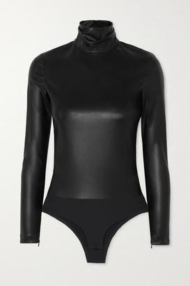 Alexander Wang Faux Stretch-leather Turtleneck Bodysuit - Black