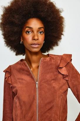 Karen Millen Suede Ruffle Sleeve Jacket