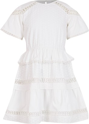River Island Girls White embroidered ruffle dress