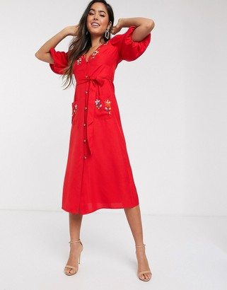 ASOS DESIGN embroidered button through midi tea dress with puff sleeves in rust