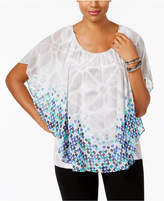 JM Collection Printed Embellished Poncho Top, Only at Macy's