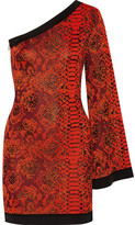 Balmain One-shoulder Jacquard-knit Mini Dress - Orange
