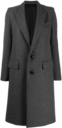 Ami Long Single-Breasted Coat