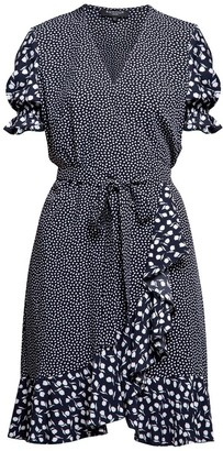 Myla Ruffled Wrap Dress With Short Sleeves In Floral Print